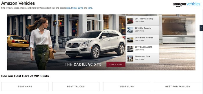 The landing page for the Amazon Vehicles section of Amazon's website.