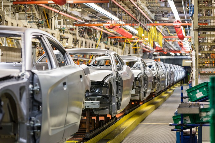 Dodge Chargers and Challengers on an assembly line at FCA's assembly plant in Brampton, Ontario, Canada.