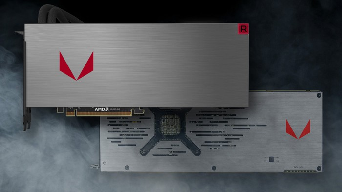 A top and bottom view of the Radeon RX Vega 64.