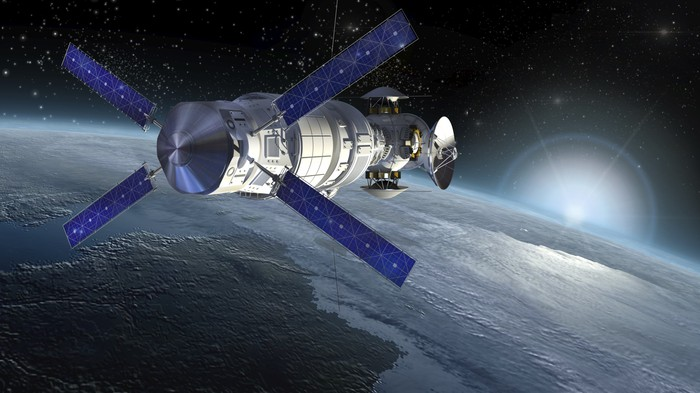 A satellite, equipped with solar panels and antenna dishes, circling the Earth.