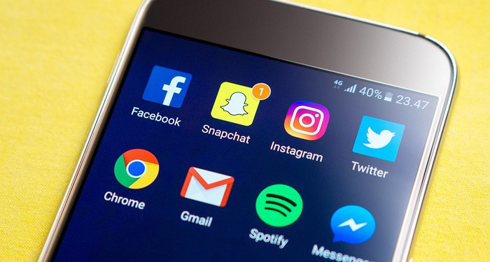 Numerous social media apps on a smartphone