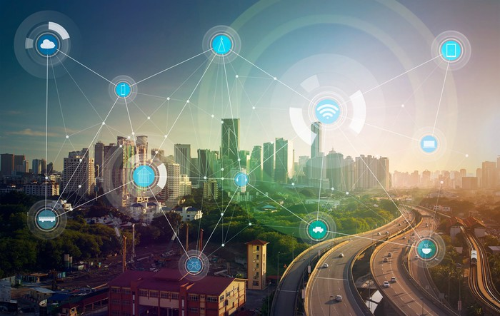 A depiction of a smart city connected by multiple wireless devices.