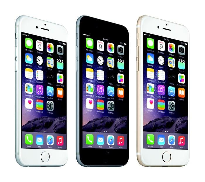 Three of Apple's iPhone 6 phones.