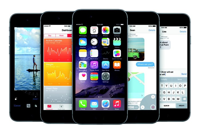 Several of Apple's iPhone 6 phones showing a variety of applications.