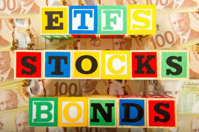 """Wooden blocks arranged to spell """"ETFS"""" """"STOCKS"""" and """"BONDS"""", on a stack of money"""