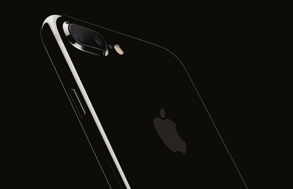 Black Apple iPhone 7 on black background