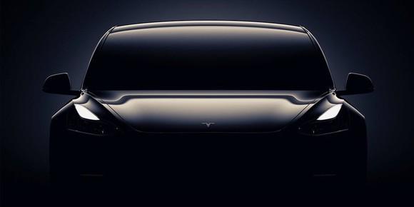 A dark outline of Tesla's Model 3.