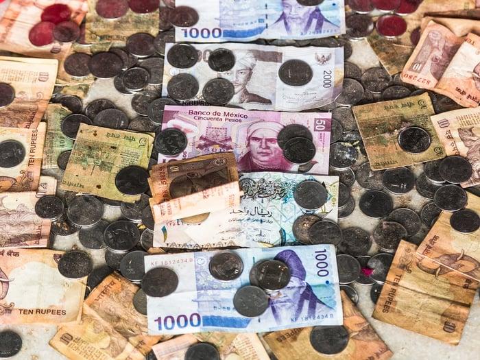 Various emerging market currencies.