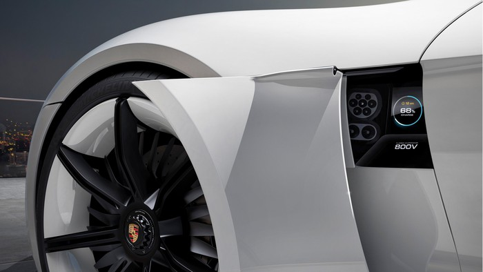 A close-up of the Mission E's charging port.