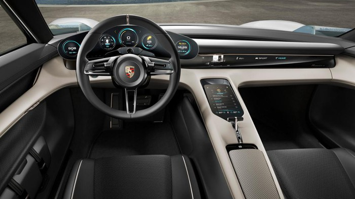 The Porsche Mission E Concept's dashboard and controls.