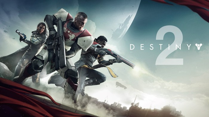 "Activision's ""Destiny 2"" game art featuring three characters holding weapons while in combat."