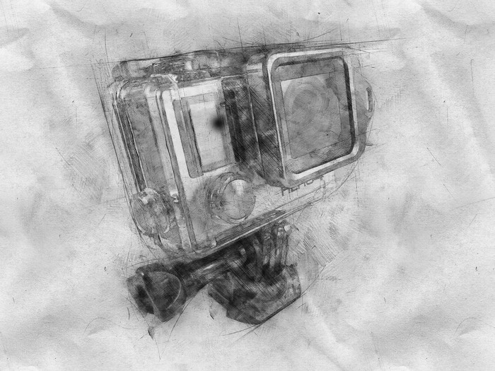 A sketch of GoPro's Hero camera.