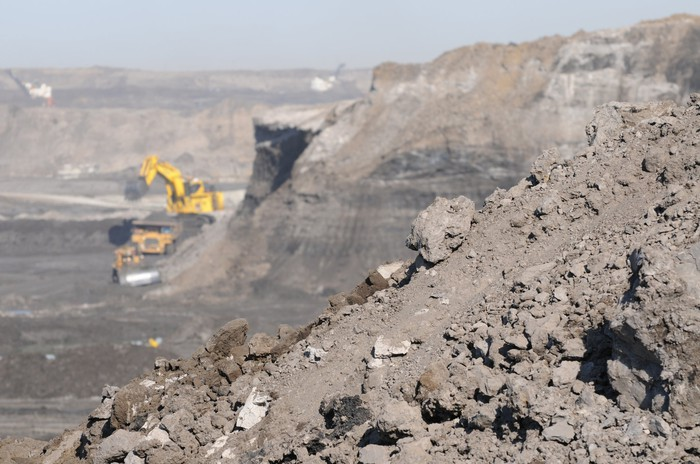 Oil sands open pit mining in Fort McMurray, Alberta, Canada.