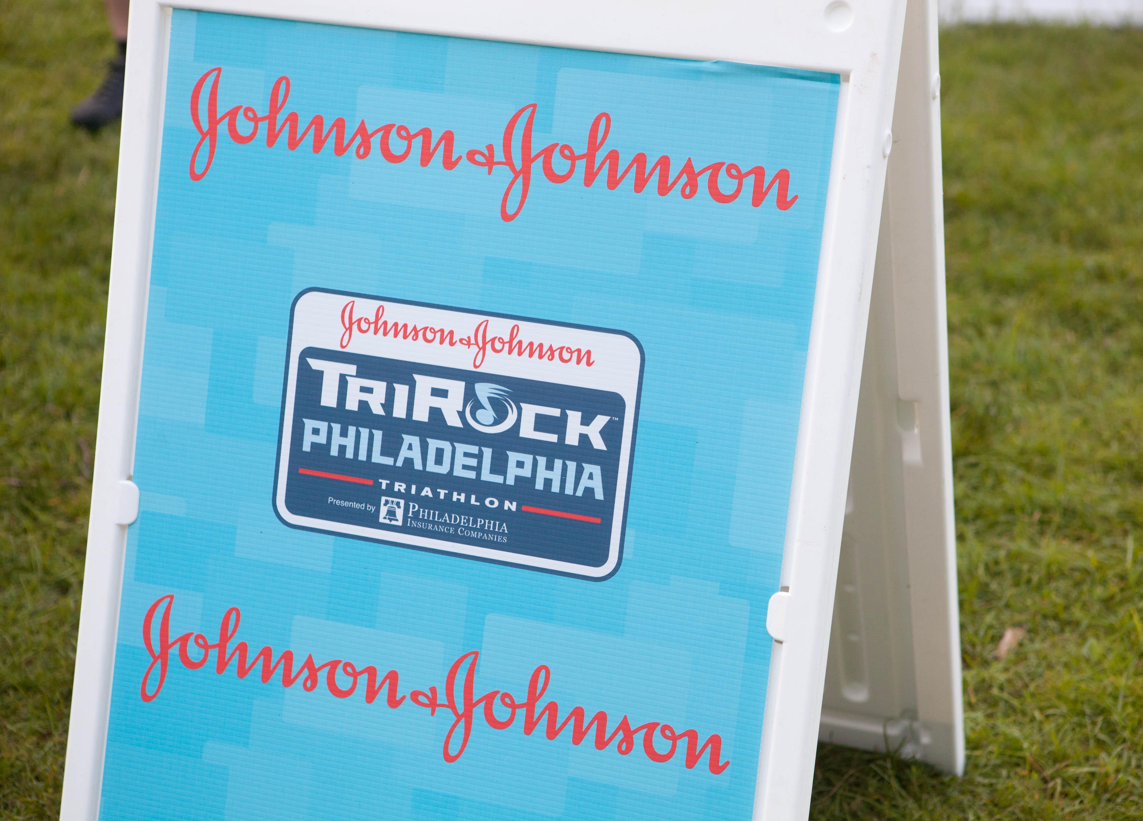 Triathlon sign for Johnson & Johnson TriRock Philadelphia.