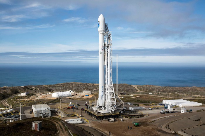 Falcon 9 rocket on launch pad.