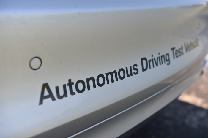 A close-up of a BMW autonomous-driving test vehicle.