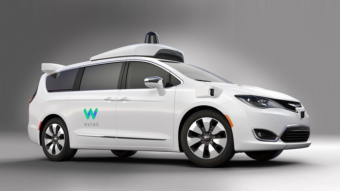 A white Chrysler Pacifica Hybrid minivan with visible self-driving sensors and a blue and green Waymo logo.