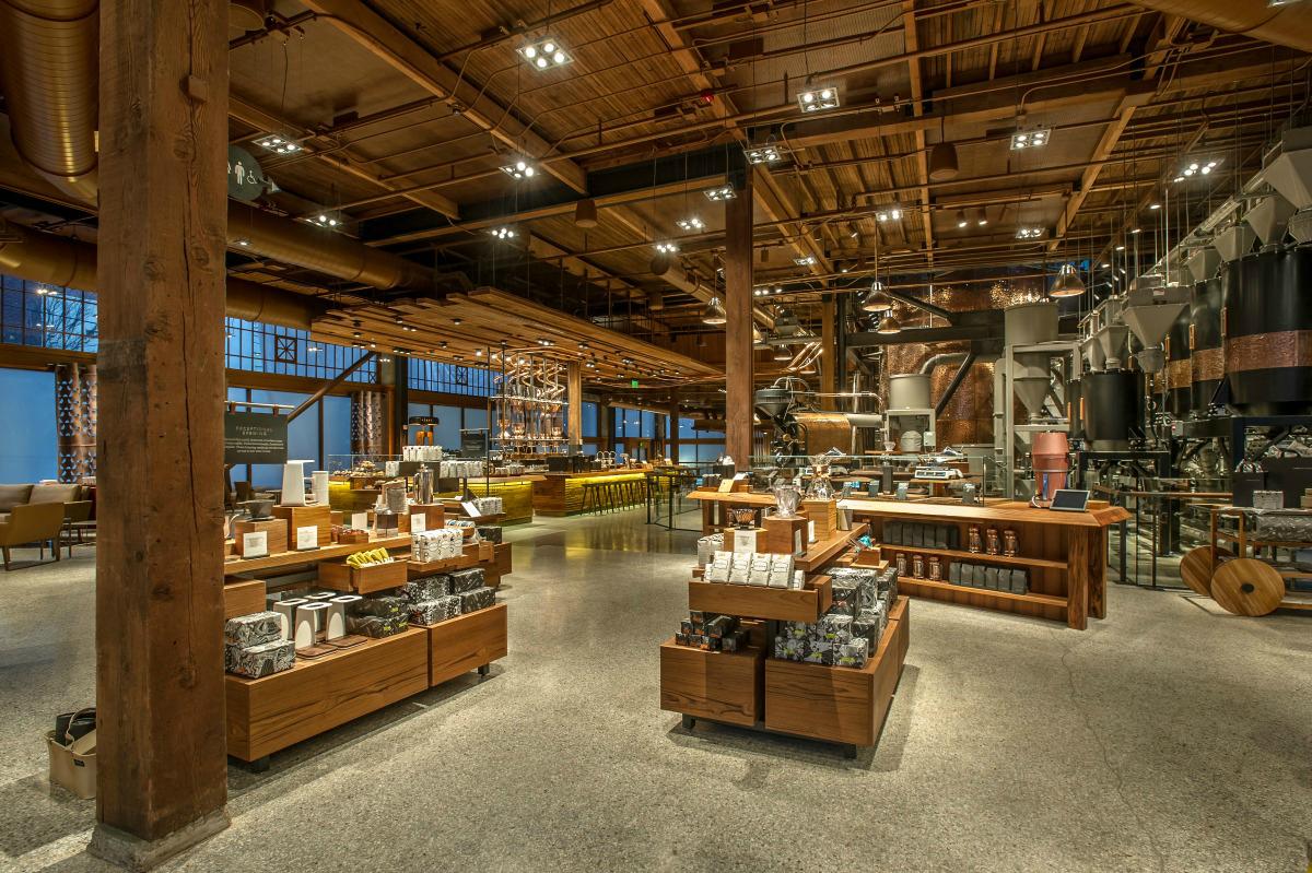 The inside of a Starbucks Roastery in Seattle.