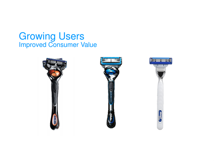 Three of P&G's latest razor models.