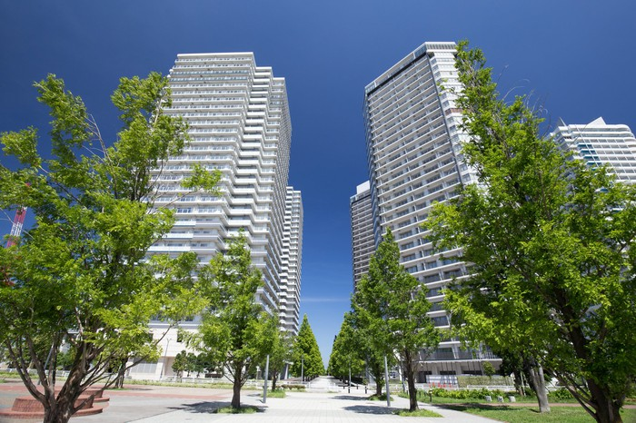 Two high-rise apartment buildings.