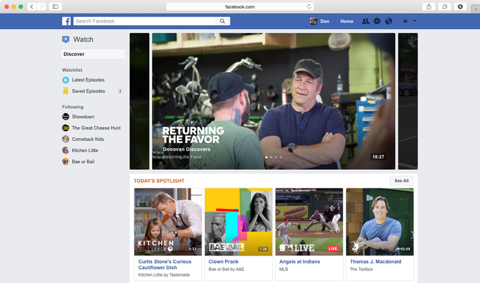 Screenshot of Facebook's new Watch page with suggested shows.