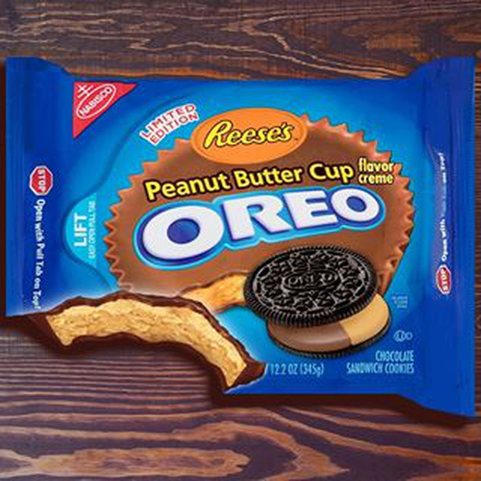 A blue box of Oreo cookies, stuffed with Reese's peanut butter cup filling.