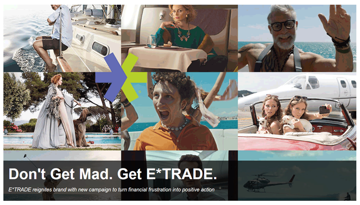 """Screen captures from various E*Trade """"don't get mad, get E*trade"""" commercials."""
