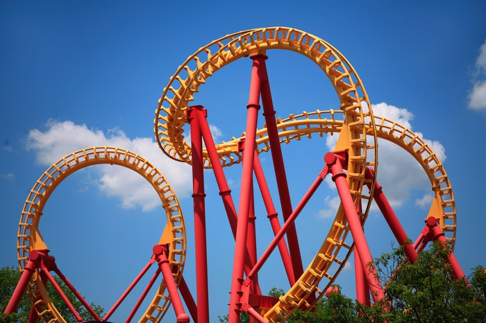 A yellow roller coaster track spirals against a blue sky.