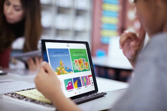 A person using an Apple iPad.
