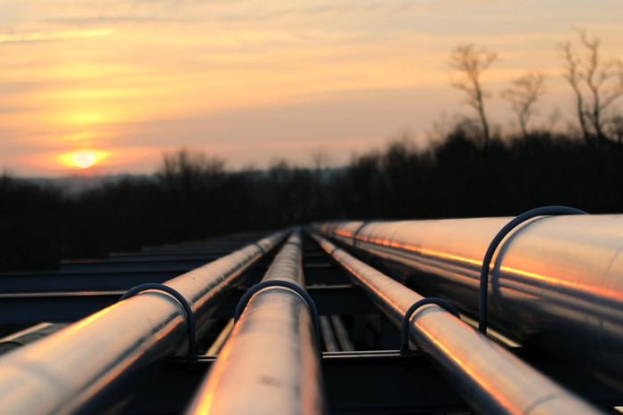 Several pipelines at dusk.