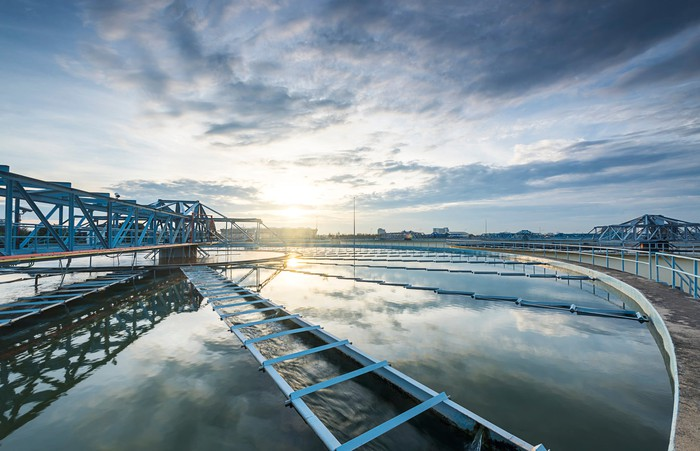 A water treatment plant during sunrise
