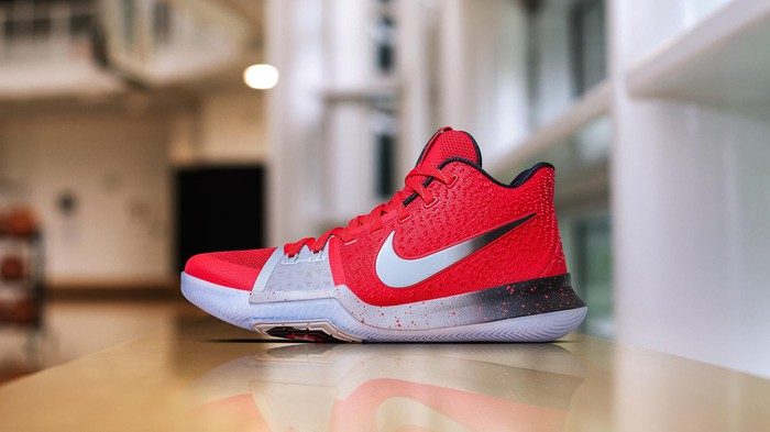 Nike's new Kyrie3 basketball shoe in red, white and black