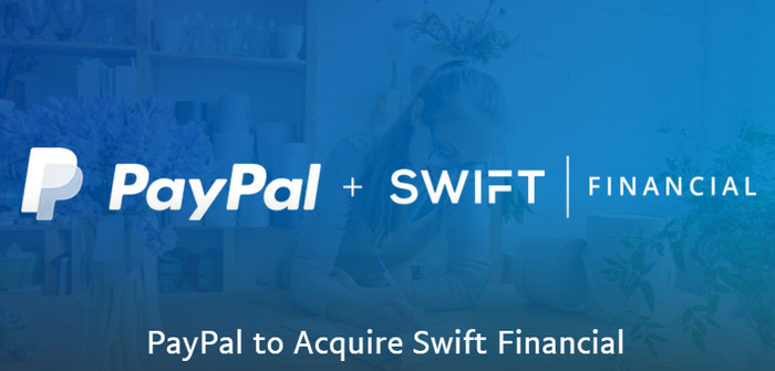 """Placard declaring """"PayPal + Swift Finacial -- PayPal to Acquire Swift Financial"""""""