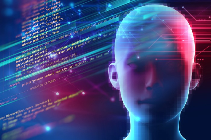 3D rendering of a human-like head, overlaid on a background of computer language.
