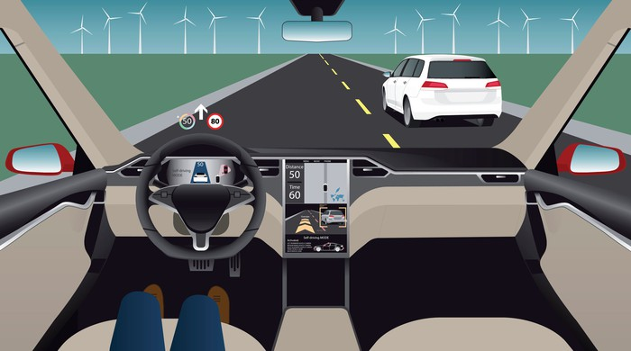 An autonomous vehicle on a road -- person in driver's seat is sitting back with only legs showing on seat.