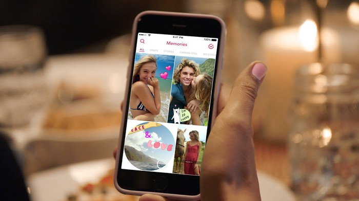 Snapchat's Memories features on a smartphone app.