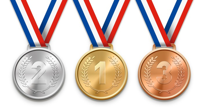 3 winning medals on white background. Number 1 gold medal, number 2 silver medal, and number 3 bronze medal.