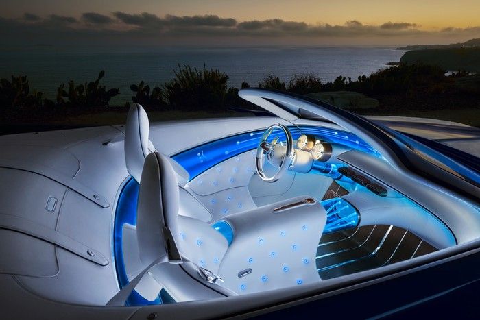 A close-up of the Vision Mercedes-Maybach 6 Cabriolet's two-seat interior, which features blue lighting and white leather.