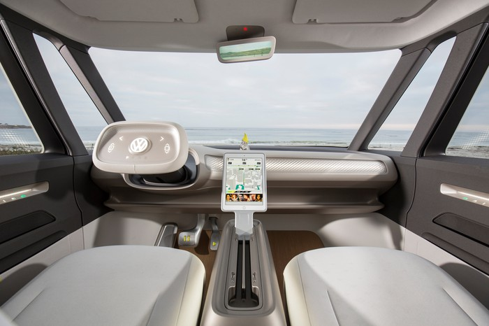 The dash and front seats of the Volkswagen I.D. Buzz show car, showing a retractable steering wheel and large central touchscreen.
