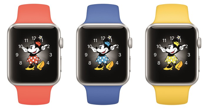 Three Apple Watches side-by-side.