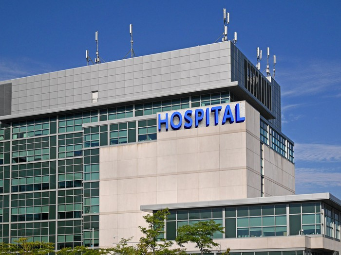"Large building labeled ""Hospital""."
