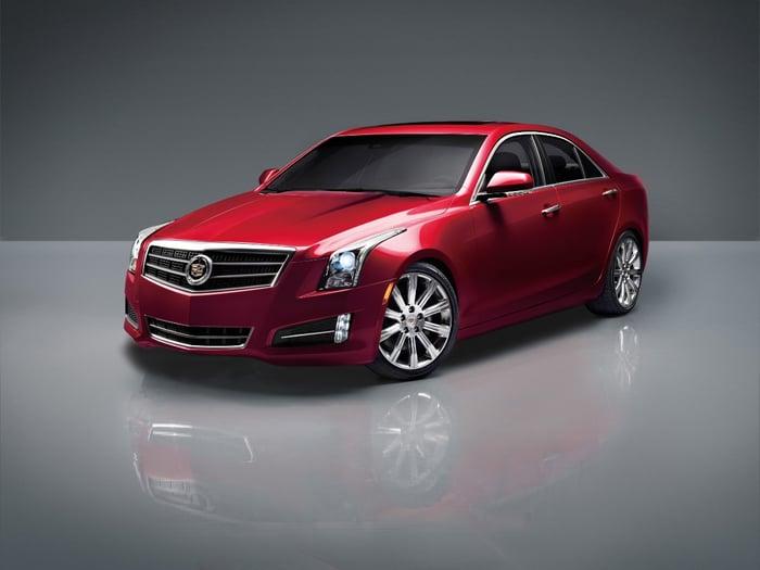 A red 2017 Cadillac ATS.