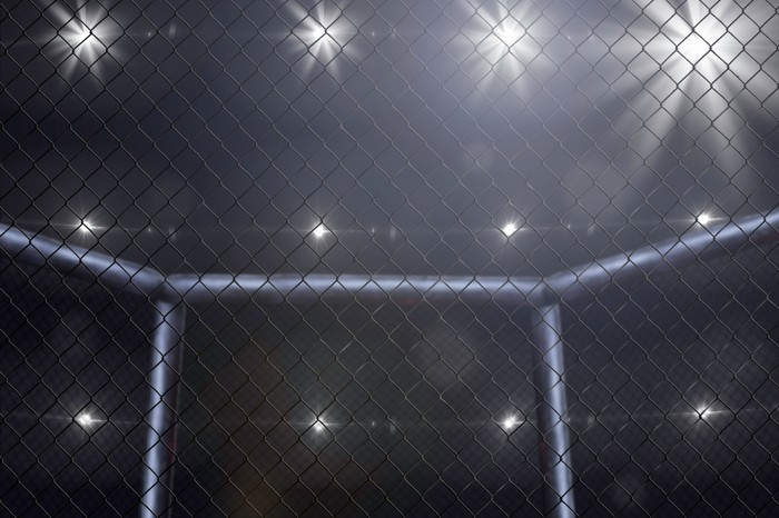 Empty Mixed Martial Arts arena side view under lights.