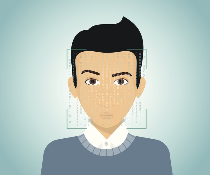 Cartoon demonstrating facial scanning and recognition.