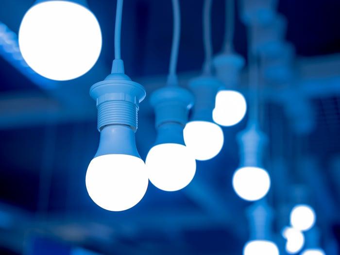 String of white LED light bulbs