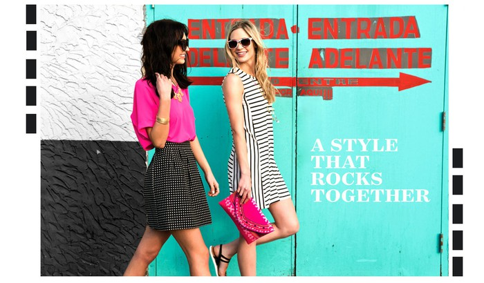 An ad for Francesca's featuring two female models walking past an entrance door.