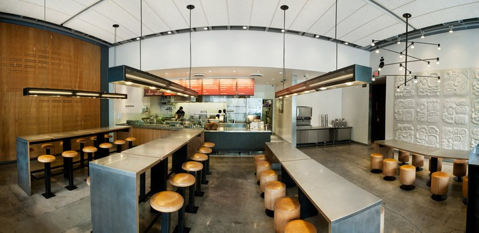 The interior of an empty Chipotle in California.