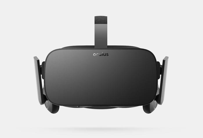 An Oculus virtual reality headset.