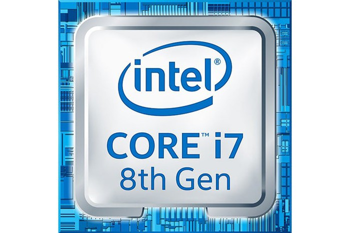 """Large square representing a computer chip that says """"intel, CORE i7, and 8th Gen on it."""