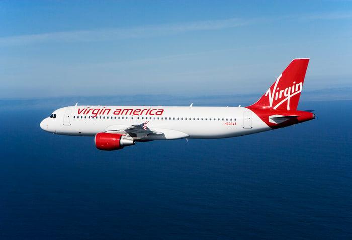 A Virgin America plane in flight.